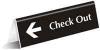 Check Out With Left Side Arrow Tent Sign