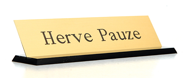 Solid brass nameplates are hefty and classy!