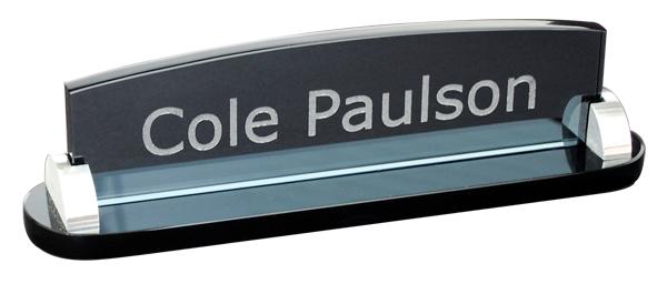 Smoked Glass Desk Plate