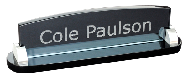 Smoked Glass Desk Plate High In Desk Engraved Plates